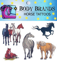 Body Brands Temporary Horse Tattoos with Resting Pony