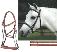 Bobby's Padded MONO Crown Fancy Bridle with Fancy Reins, Oakbark Cob Only