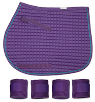 PRI Purple Quilted Pony Saddle Pad & Polos Set