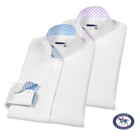 Essex Classics 'Loretto' Wrap Collar Shirt, White, Size 14 Only