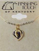 Silver Locket with Gold Horseshoe Charm