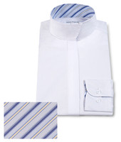 RJ Classics Children's Snap Collar Shirt , White with Blue Stripes, Size 16 Only