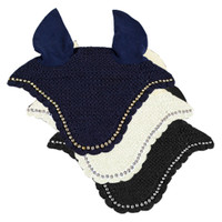 Scalloped Pony Ear Nets With Rhinestones