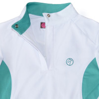 Kathryn Lily ProAir/Mesh Crossover Show Shirt, White/Jade