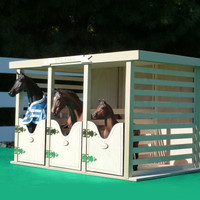 Model Horse Jumps Three-Stall Barn
