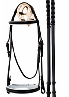 Bobby's Dressage Bridle with White Padded Noseband & Browband, Cob Only