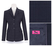 RJ Classics Prestige Navy Plaid Show Coat, Size 12 Only