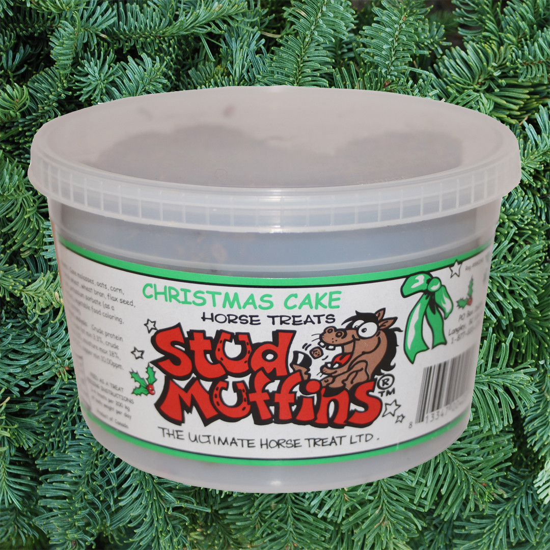 Stud Muffins 20 Oz Tub Of Horse Treats Chistmas Cake Flavor