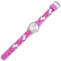 Kids Watch with 3D Band, Raspberry with White Horses