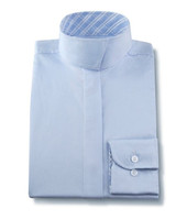 R J Classics Snap Collar Shirt, Light Blue with Blue Plaid, Size 14 Only