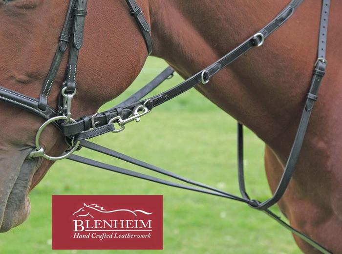 Shires Blenheim Fancy Stitched Inhand Bridle-Black Pony