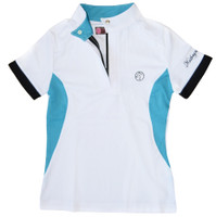Kathryn Lily ProAir Polo Competition Shirt, White/Teal/Black