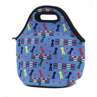 Rails and Ribbons Neoprene Lunch Tote, Blue