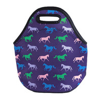 Horse Print Neoprene Lunch Tote, Purple