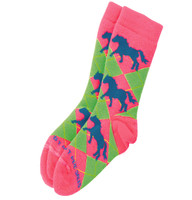 Neon Pink & Lime Argyle Socks with Teal Horses