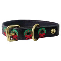 Halo Leather Dog Collar With Holiday Wreath Embroidery