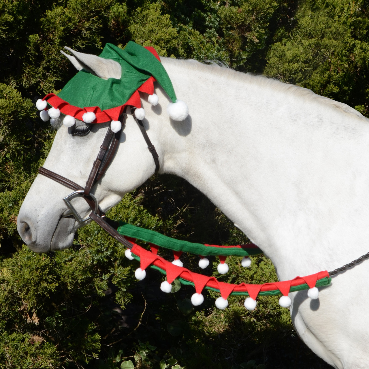Christmas Horse Tack.Holiday Horse Wear Elf Rein Covers