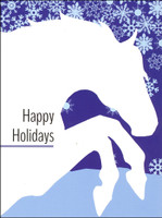 'White Horse/Blue Snowflakes' Horse Holiday Cards - Box of 8