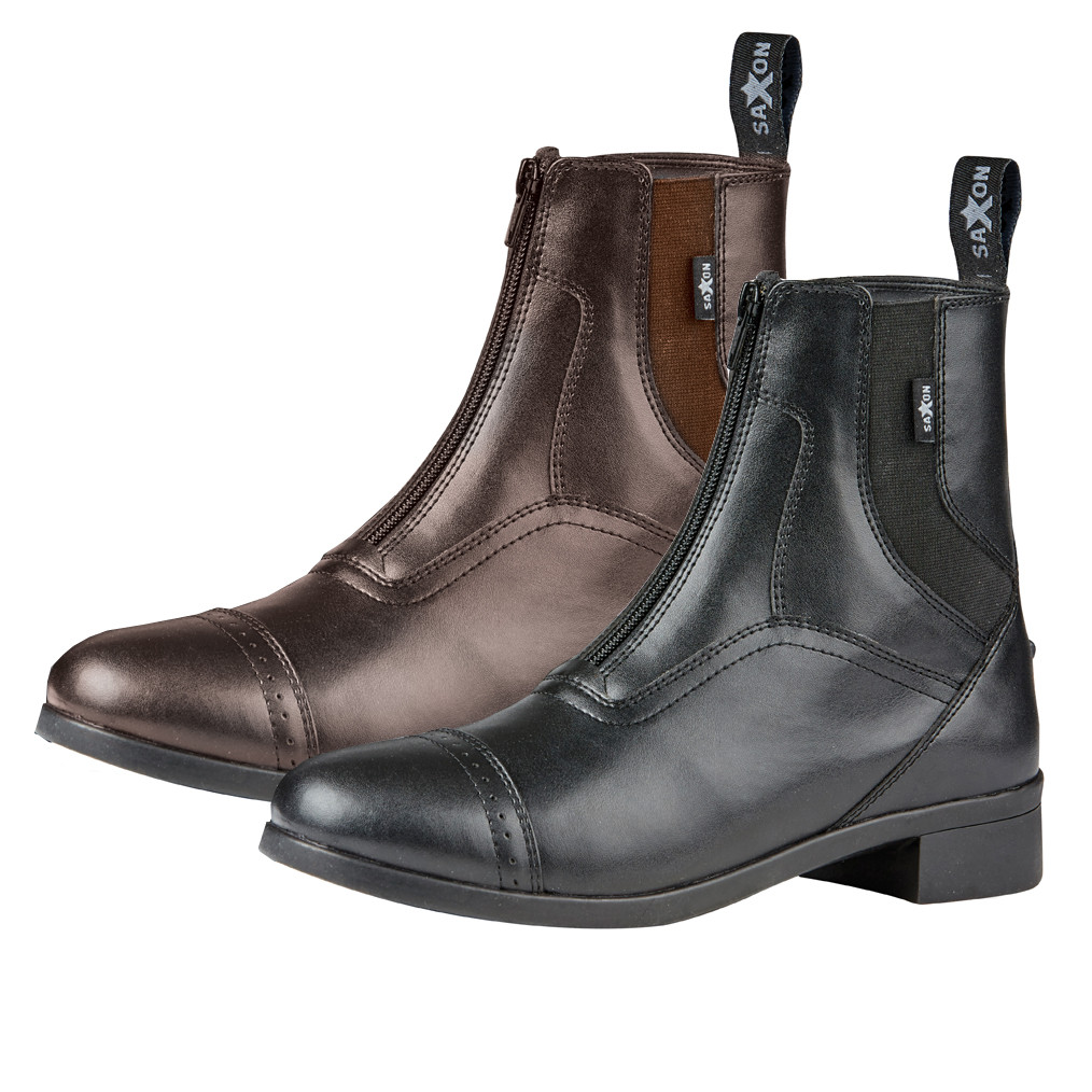 CHILDS Black or Brown Synthetic Leather Riding Paddock Boots Zip or Lace