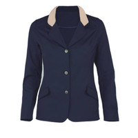 Kathryn Lily Harrisburg Coat, 3-Button, Navy with Tan Collar, Sizes 2 - 14