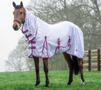 "Saxon Weatherbeeta Mesh Combo Neck Fly Sheet with Belly Band, White/Fuschia/Navy, 48"" - 69"""
