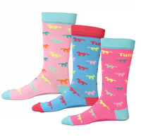 TuffRider Neon Kids Socks, Pack of 3 Pair