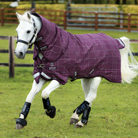 "Rhino Pony Plus Medium Turnout Blanket, Berry/Grey/White Check,  45"" - 69"""