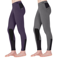 Kerrits Kids Sit Tight Windpro Kneepatch Breech, Charcoal & Eggplant