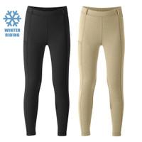 Kerrits Kids Powerstretch Winter Pocket Tight, Black & Tan