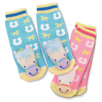 Baby Socks with Cute Puffy Ponies, Blue & Pink