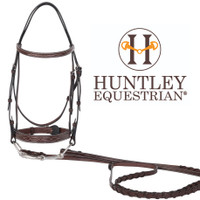 Huntley Equestrian Fancy Stitched Bridle, Fancy Reins, Australian Nut