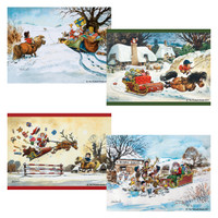 Thelwell Christmas Placemats, Set of 4 Assorted Including 'Thumbing a Lift'