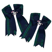 Belle & Bow Show Bows, Plaid Horse, Navy & Blackwatch