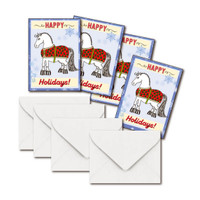 Mini Gift Enclosure Cards, Holiday Blanketed Horse, Set of 4 with Envelopes