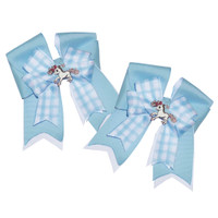 Belle & Bow SHORT-TAIL Show Bows, Light Blue Smarties