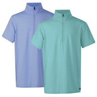 Kerrits Kids Ice Fil Short Sleeve Shirt, Aquamarine & Wisteria