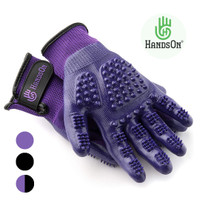 HandsOn Wet/Dry Grooming Gloves, Black & Purple, Junior & Regular Sizes