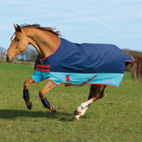 "Horseware Mio Lite Turnout Sheet,  Dark Blue/Aqua/Red, 45"" - 69"""