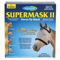 Farnam SuperMask II Shimmer Weave, Silver/Black, Large Pony/Cob Size