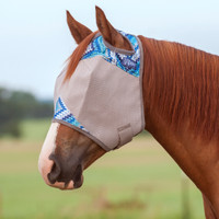 Cashel Crusader Fly Mask, Std No Ears,Blue Zig Zag, 4 Sizes