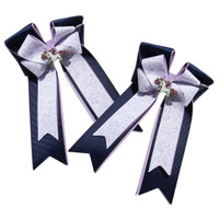 Belle & Bow Show Bows, Navy & Lavender with White/Lavender Paisley