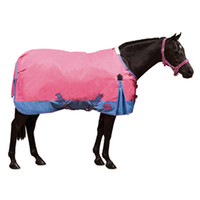 "Weatherbeeta Pony Medium Turnout, Raspberry/ Blue Two-Tone, Size 54"" Only"