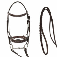 Huntley Equestrian Padded, Fancy Stitched Wide Noseband Bridle, Australian Nut, 3 Sizes