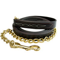 """Walsh Fancy Stitched Leather Lead with 24"""" Chain, Havana"""