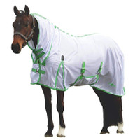 "Saxon Mesh Combo Neck Fly Sheet with Belly Band, White/Mint/Blue, 48"" - 69"""
