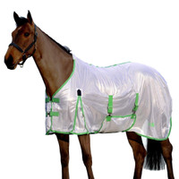 "Saxon Mesh Fly Sheet with Gussets & Belly Band, White/Mint/Blue, 48"" - 69"""