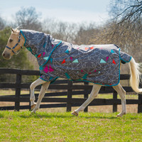 "Amigo  Pony Plus Turnout Sheet, Origami with Teal Trim, 45"" - 69"""