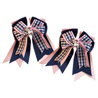 Belle & Bow SHORT-TAIL Show Bows, Smartie Pants, Navy and Pink with Gingham