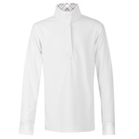 Kerrits Kids Encore Long Sleeve Show Shirt, White with Gray/Tan Trim