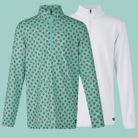 Kerrits Kids Ice Fil Lite Long Sleeve Shirt, Spearmint Pinwheel & White